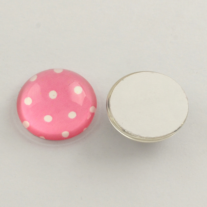 cabochon in vetro ROSA A POIS BIANCHI